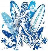 stock photo of poseidon  - poseidon surfer on blue surfboard background with palm tree - JPG