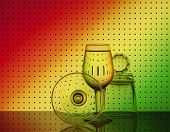 Set Of Bar Glassware With Attractive Graphic Abstract Background.