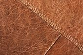 stock photo of stitches  - Brown leather texture  - JPG