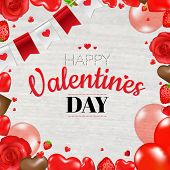 Valentines Day Card With Gradient Mesh, Vector Illustration