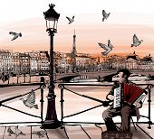 Accordionist playing on Pont des arts in Paris - vector illustration
