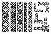 stock photo of celtic  - Set of celtic patterns and celtic ornament corners in black - JPG