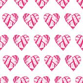 Striped red hearts seamless vector print
