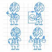 Professor doodle concept set 2