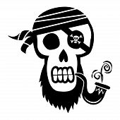 pic of skull crossbones flag  - Vector Cartoon Pirate Skull with Crossbones Illustration - JPG