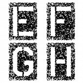 picture of g-spot  - vector stencil angular spray font letters E F G H - JPG