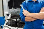 Mechanic holding wrench with crossed arms at the repair garage