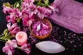 Spa set and orchid ,candle, soap ,towel ,bowl