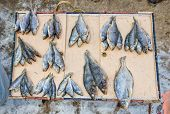 Dried Fish Ready For Sale At The Local Street Market In Samara, Russia