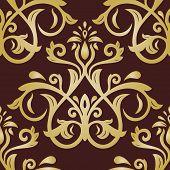 Damask Seamless Vector Golden Pattern. Orient Background