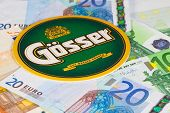 Beermat From Gosser Beer And Eur Banknotes