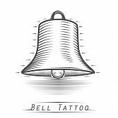 Bell vintage tattoo. Vector illustration