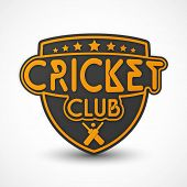 Badge, label or sticker with bat, ball and text Cricket Club.