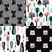 Seamless scandinavian pastel woodland kids illustration deer owls tree and feathers background pattern set in vector