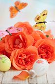 bouquet of roses,easter eggs and butterfly
