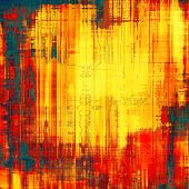 Grunge texture with decorative elements and different color patterns: red (orange); yellow (beige); blue; brown