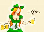 Young modern leprechaun girl holding beers for Happy St. Patrick's Day celebration.