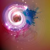 Abstract design of colorful sparkling swirl with its shadow on stylish background.