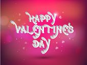 Stylish text Happy Valentines Day on hearts decorated shiny red and pink background.