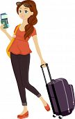 Illustration of a Teenage Girl Holding Her Passport in One Hand and Dragging a Piece of Luggage With the Other
