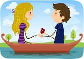 Illustration of a Man Proposing Marriage to His Girlfriend While Out Boating in a Lake