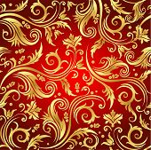 Floral seamless background in red and gold color with luxury flowers