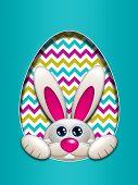Easter Bunny Looking Up Hidden In Egg Hollow