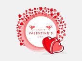 Happy Valentines Day celebration with red hearts decorated frame on grey background.