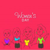 International Women's Day celebration with cartoon of four girls in different pose on pink background.