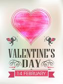 Beautiful template or brochure design with shiny pink heart for 14 February, Valentines Day celebration.
