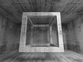 Flying Empty Beam Cube In Abstract 3D Concrete Room Interior