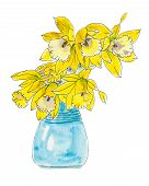 pic of lent  - Daffodil flowers in a blue vase.