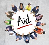 Multi-Ethnic Group of People and Aid Concepts