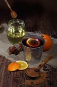Mulled Wine Preparation, Mulled Wine With An Orange, Honey, Cinnamon, A Carnation And An Anise
