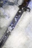Frozen old trench knife