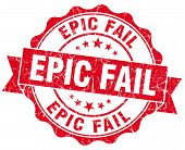 Epic Fail Red Grunge Seal Isolated On White