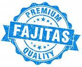 Fajitas Blue Grunge Seal Isolated On White
