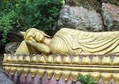 Golden Buddha Statue In Laos