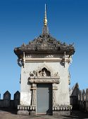 stock photo of adornment  - a small adorned tower seen in Vientiane the capital city Laos a country in Southeast Asia - JPG