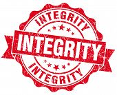 Integrity Red Grunge Seal Isolated On White