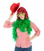 stock photo of bowler  - Woman in carnival costume with wig and bowler isolated over white - JPG