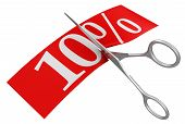Scissors and 10% (clipping path included)