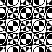 Seamless Circle, Square and Triangle Pattern. Vector Black and White Background