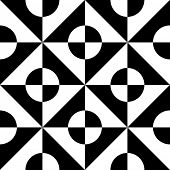 Seamless Square and Circle Pattern. Abstract Black and White Background. Vector Regular Texture