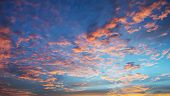 Sky. Bright Blue, Pink And Yellow Colors Sunset. Toned Image