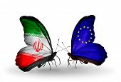 Two Butterflies With Flags On Wings As Symbol Of Relations Iran And European Union