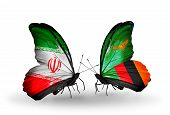 Two Butterflies With Flags On Wings As Symbol Of Relations Iran And Zambia