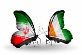 Two Butterflies With Flags On Wings As Symbol Of Relations Iran And Cote Divoire