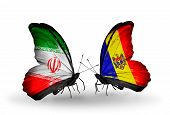 Two Butterflies With Flags On Wings As Symbol Of Relations Iran And Moldova
