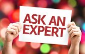 Ask an Expert card with colorful background with defocused lights